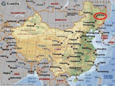 map_china_showing_Harbin