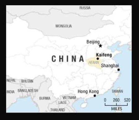 Map of China with Kaifeng